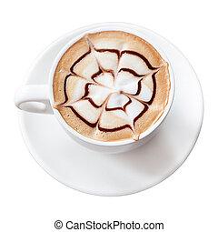 koffie drinken, vrijstaand, mocha, af)knippen, achtergrond, steegjes, witte