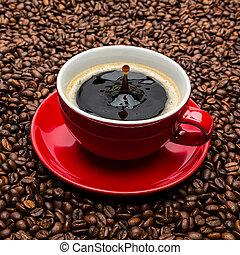 koffie, druppel, kop