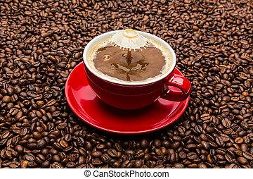 koffie, druppel, melk, het vallen, kop