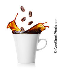 koffie, gespetter, bonen, het vallen, kop