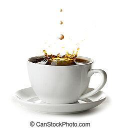 koffie, gespetter, kop