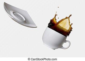 koffie, gespetter, vrijstaand, witte bac