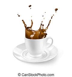 koffie, gespetter, vrijstaand, witte kop