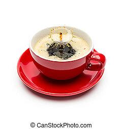 koffie, gespetter, witte kop