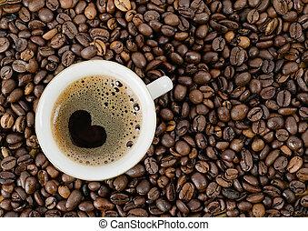koffie, graankorrel, koffie, bovenzijde, kop, achtergrond, aanzicht