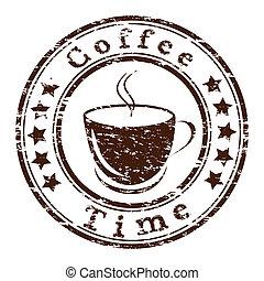 koffie, grunge, kop, postzegel, vector, tijd