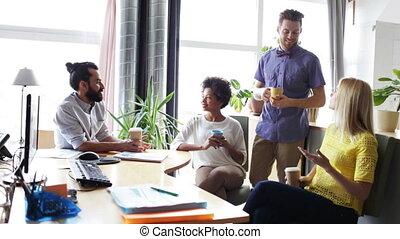 koffie, kantoor, creatief, team, drinkt, vrolijke