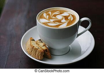 koffie, kunst, latte, heerlijk, kolken, design.