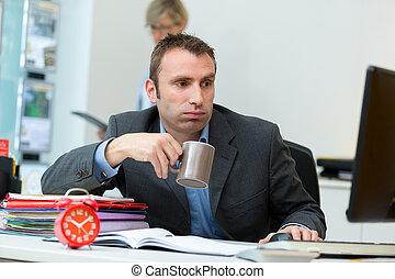 koffie, mannelijke , mok, kantoor