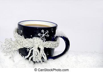 koffie mok, sjaal