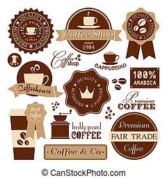 koffie, ouderwetse , etiketten