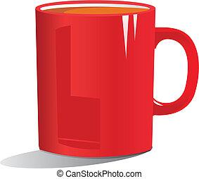 koffie, rood, illustratie, mok