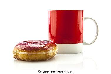koffie, rood, mok, donut