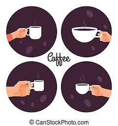 koffie stel, iconen, vector, holdingshanden, koppen