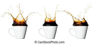 koffie stel, kop, het bespaten, vrijstaand, achtergrond, witte