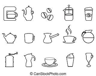 koffie stel, lineair, pictogram