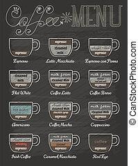 koffie stel, ouderwetse , stijl, chalkboard, menu