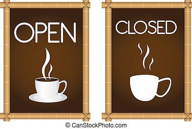 koffie, tekens & borden
