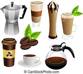koffie, vector, set