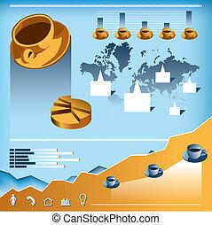 koffie, vector, set, infographics