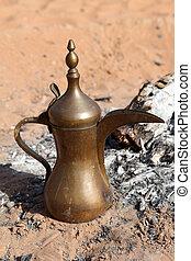 koffie, verenigd, pot, arabier, desert., emiraten, abu dhabi, arabische , openhaard