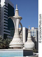 koffie, verenigd, pot, arabier, emiraten, abu, monument, dhabi, arabische