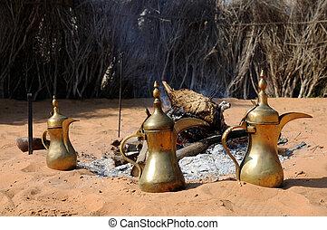 koffie, verenigd, potten, arabier, emiraten, abu dhabi, arabische , openhaard