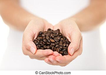 koffie, vrouw, het tonen, handvol, -, boon, bonen
