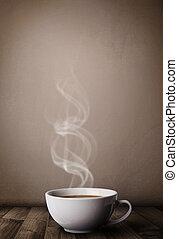 koffie, witte , stoom, abstract, kop