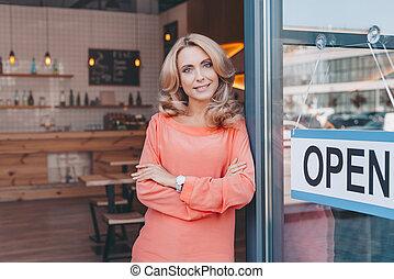 koffiehuis, eigenaar, meldingsbord, open