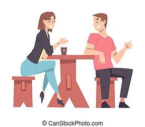 koffiehuis, illustratie, kletsende, spotprent, koffie, paar, tafel, vector, stijl, jonge, drinkt, zittende