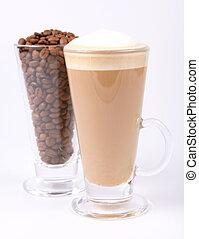 koffiehuis, koffie bonen, latte