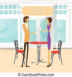 koffiehuis, paar, straat, tafel, buiten, koffie drinken