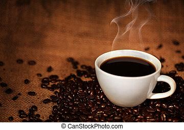 koffiekop, bonen, geroosterd