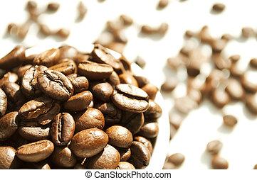 koffiekop, bonen, witte