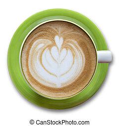 koffiekop, bovenzijde, vrijstaand, witte , aanzicht