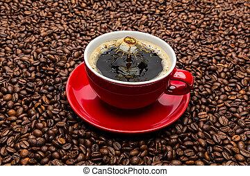 koffiekop, druppel, botsing