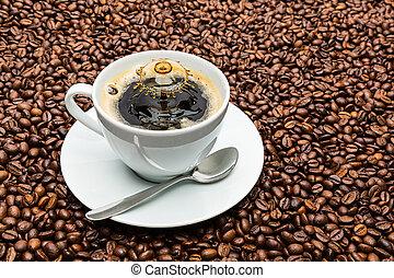 koffiekop, druppel, gespetter