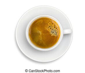 koffiekop, espresso, vrijstaand, achtergrond, witte