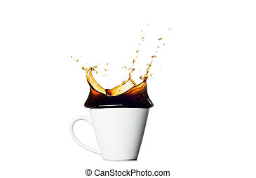 koffiekop, het bespaten, vrijstaand, achtergrond, witte