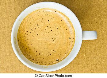 koffiekop, op, achtergrond, afsluiten, witte