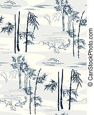 koi, model, visje, japanner, seamless, vector, bamboe