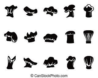 kok, hoedjes, set, pictogram
