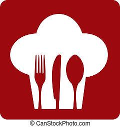 kok, restaurant., pictogram