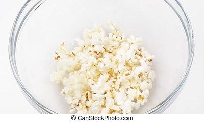 kom, definitie, beeldmateriaal, popcorn, het vallen, hoog