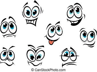 komieken, spotprent, gezichten