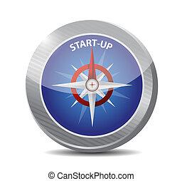 kompas, start, concept, illustratie, meldingsbord
