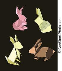 konijnen, origami, set