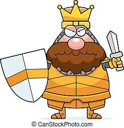 koning, boos, spotprent