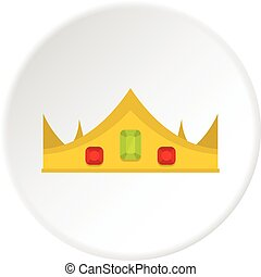 koninklijk, cirkel, kroon, goud, pictogram